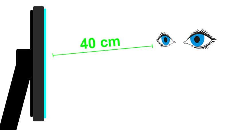Bien s'asseoir - Distance minimale de 40 cm entre vos yeux et votre écran d'ordinateur