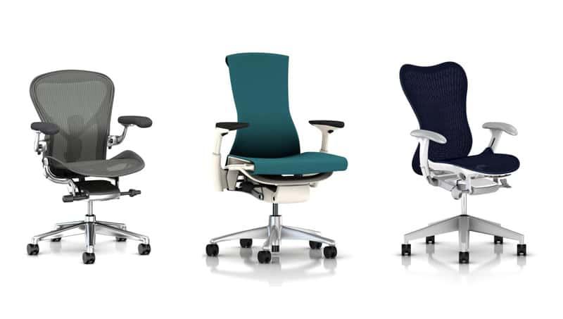 Fauteuils de bureau ergonomiques (Aeron, Embody, Mirra)