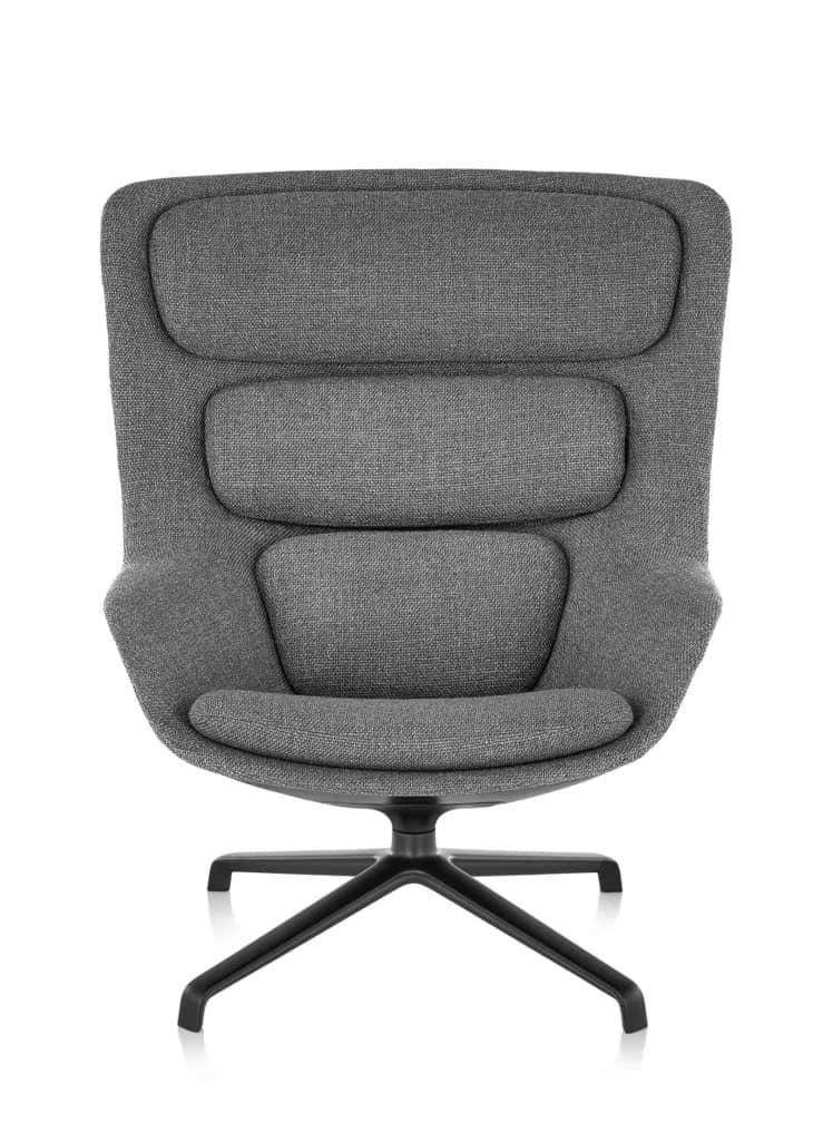 Fauteuil Striad revêtement gris et base noire par Herman Miller